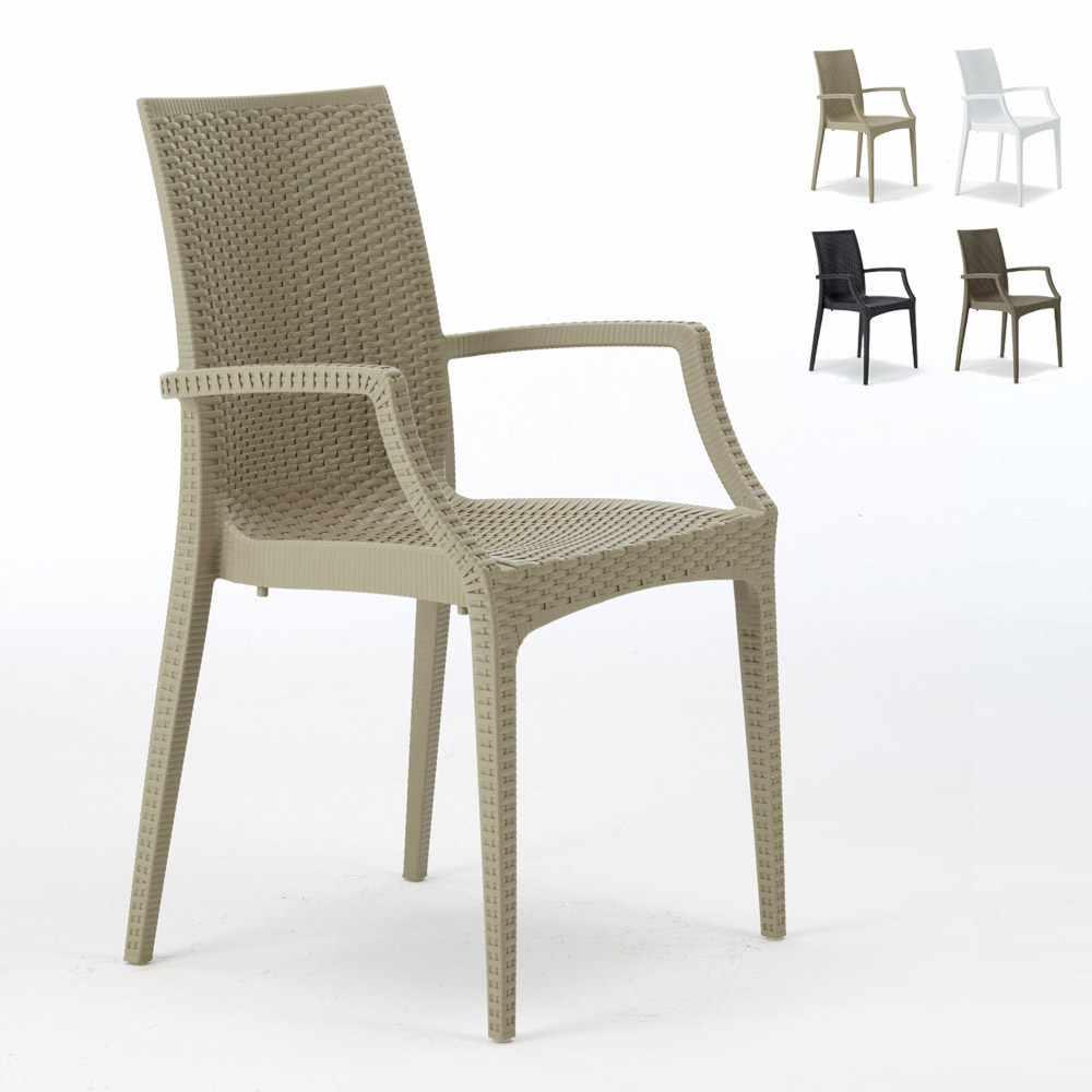 20 chaises de jardin accoudoirs fauteuils bar café restaurant poly rattan Bistrot Arm Grand Soleil