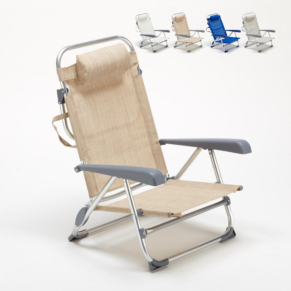 chaise transat de plage pliante avec accoudoirs mer