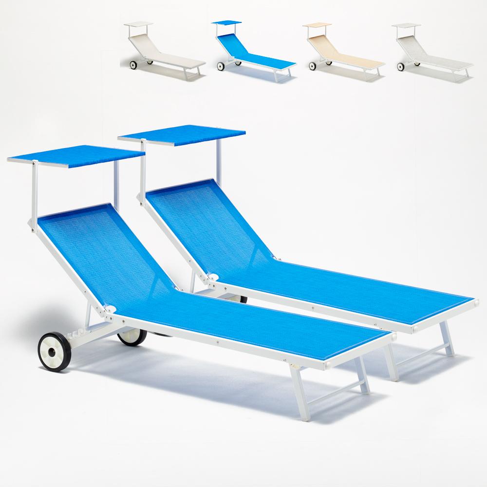 Garten Liege Rollen Liegestuhl Sonnenliege Strand Strandliege mit Dach rollbar