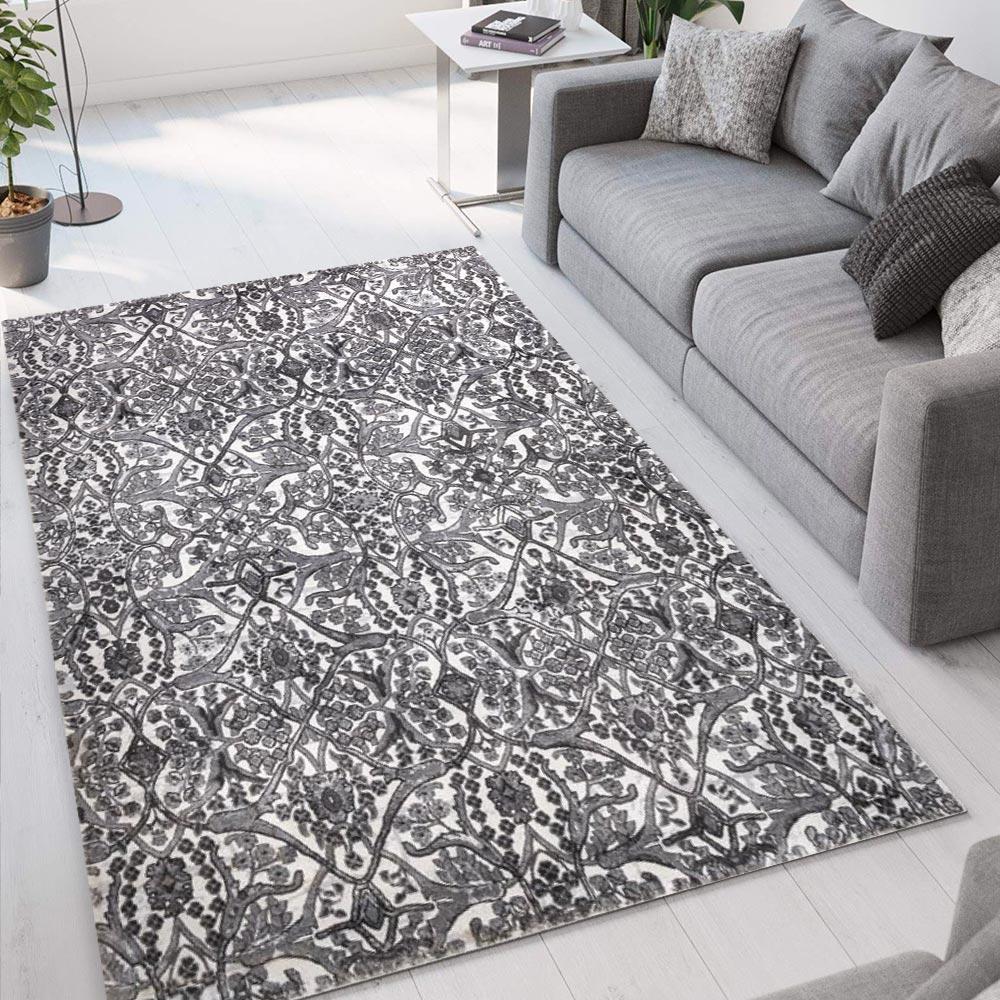 Tapis design floral gris moderne à poils courts Double GRI003