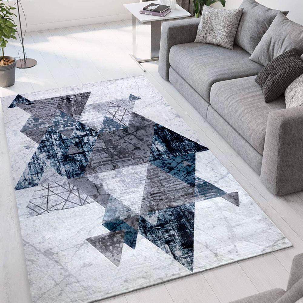 Tapis de salon design moderne à poils courts gris bleu Double CEL007