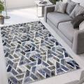 Tapis de salon design moderne à poils courts gris bleu Double CEL004