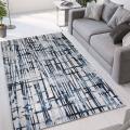Tapis gris bleu à poils courts de design contemporain moderne Double CEL001