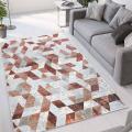 Tapis design géométrique moderne poil court Double gris rouge TER002