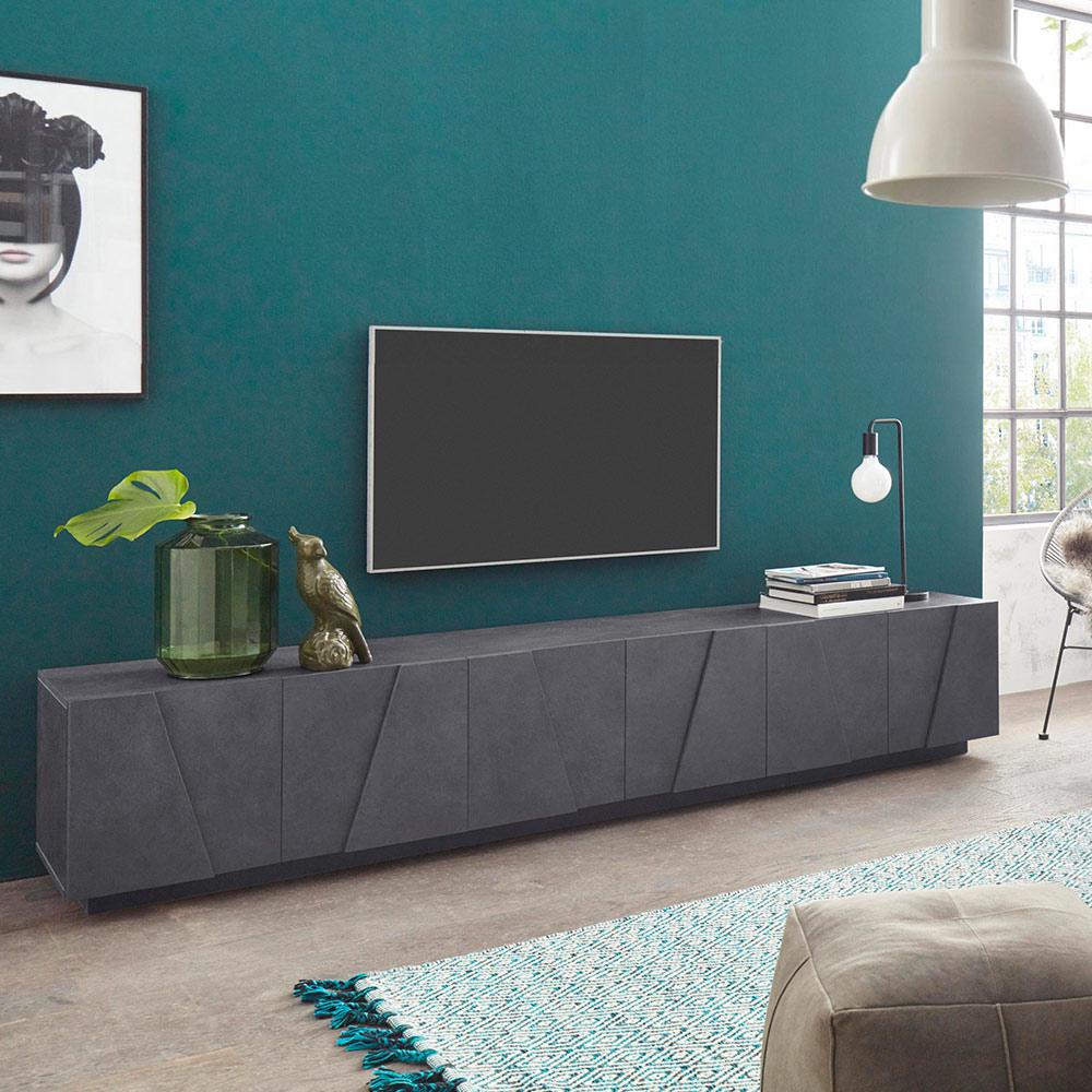 Ping Low Xl Ardesia Modern Design Woonkamer Tv Meubel Met 6 Deuren En 3 Vakken